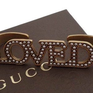 Auth Gucci LOVED Hand Piece Knuckle Ring Faux